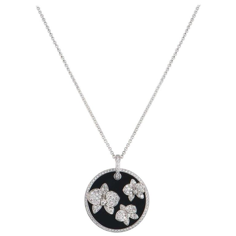 Cartier Diamond and Onyx Caresse D'Orchidees Pendant For Sale