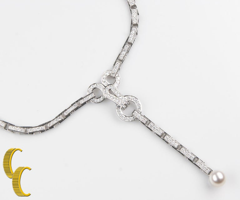 Women's Cartier Diamond and Pearl Agrafe 18k White Gold Rare Vintage Necklace/ Pendant For Sale