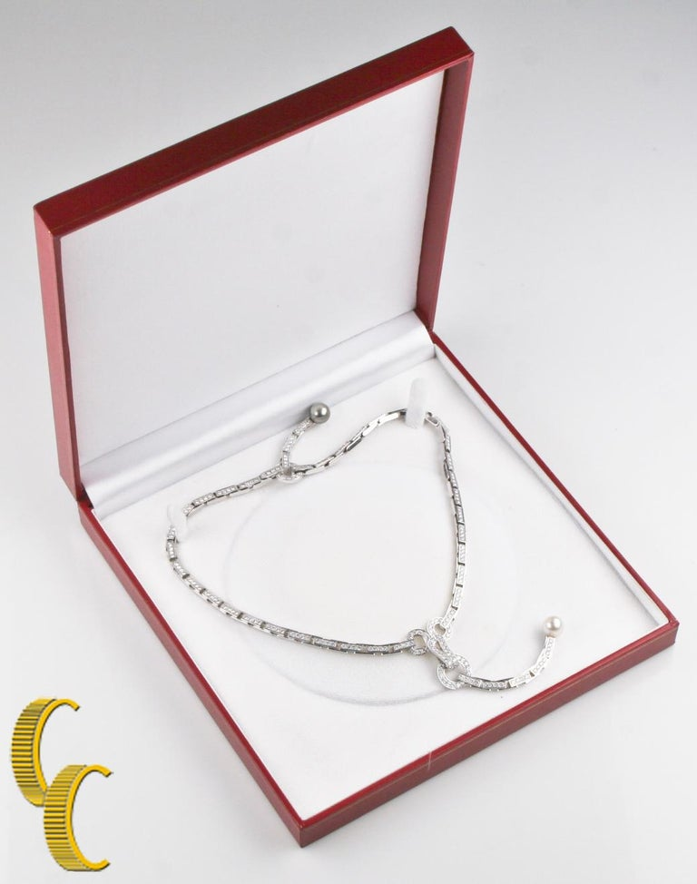 Cartier Diamond and Pearl Agrafe 18k White Gold Rare Vintage Necklace/ Pendant For Sale 2