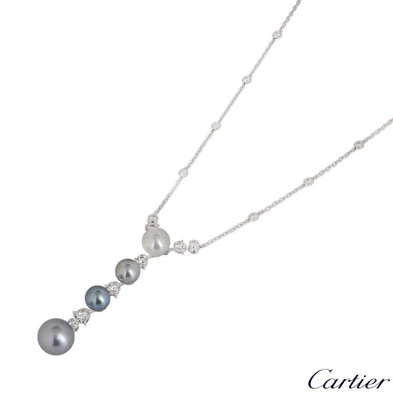Cartier Diamond and Pearl Calin Necklace In Excellent Condition For Sale In London, GB
