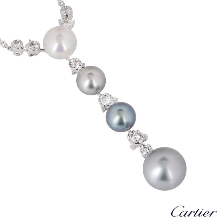 Women's Cartier Diamond and Pearl Calin Necklace For Sale