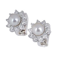 Cartier Diamond and Pearl Clip-on Earrings