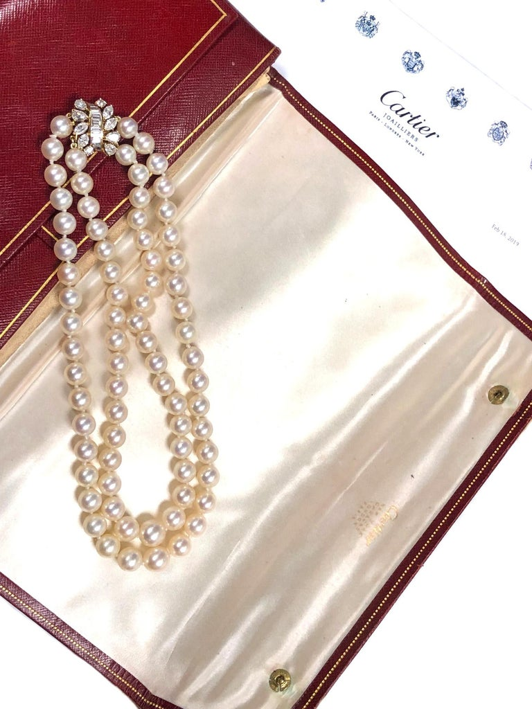 Cartier Diamond and Pearls Double Strand Necklace For Sale 2