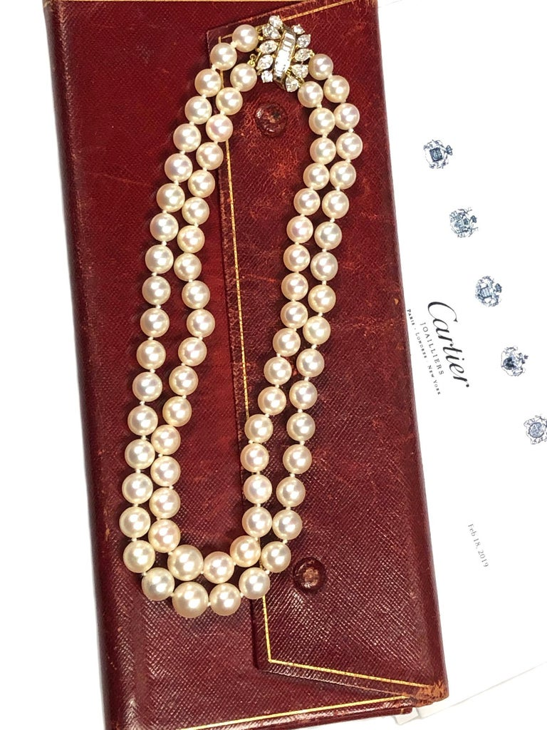 Cartier Diamond and Pearls Double Strand Necklace For Sale 3