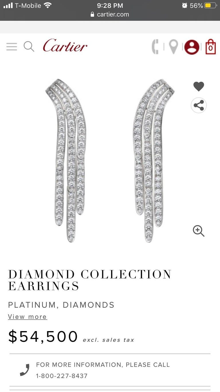 Cartier Diamond and Platinum Drop Earrings For Sale 6
