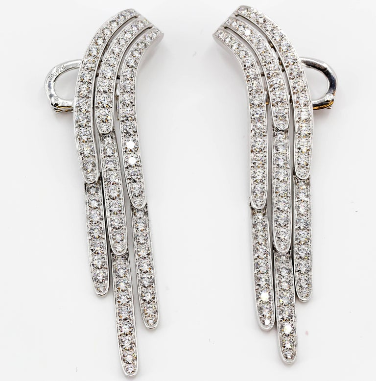 Cartier Diamond and Platinum Drop Earrings In Excellent Condition For Sale In New York, NY