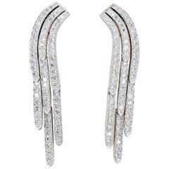 Cartier Diamond and Platinum Drop Earrings