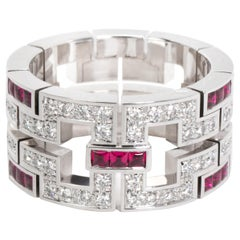Cartier Diamond and Ruby Band in 18 Karat White Gold 0.95 Carat