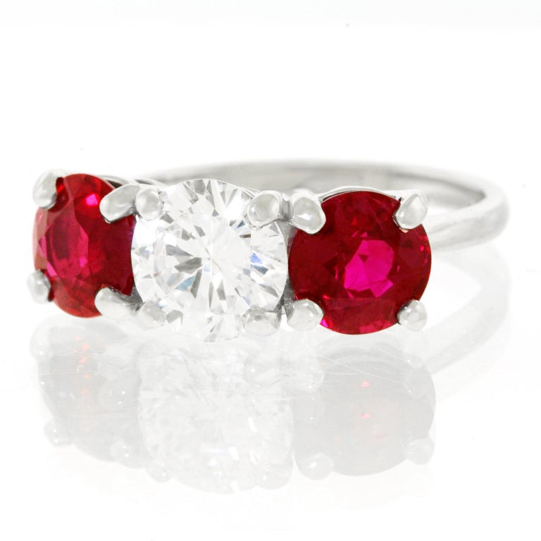 Cartier Diamond and Ruby Set Platinum Engagement Ring GIA In Excellent Condition For Sale In Litchfield, CT