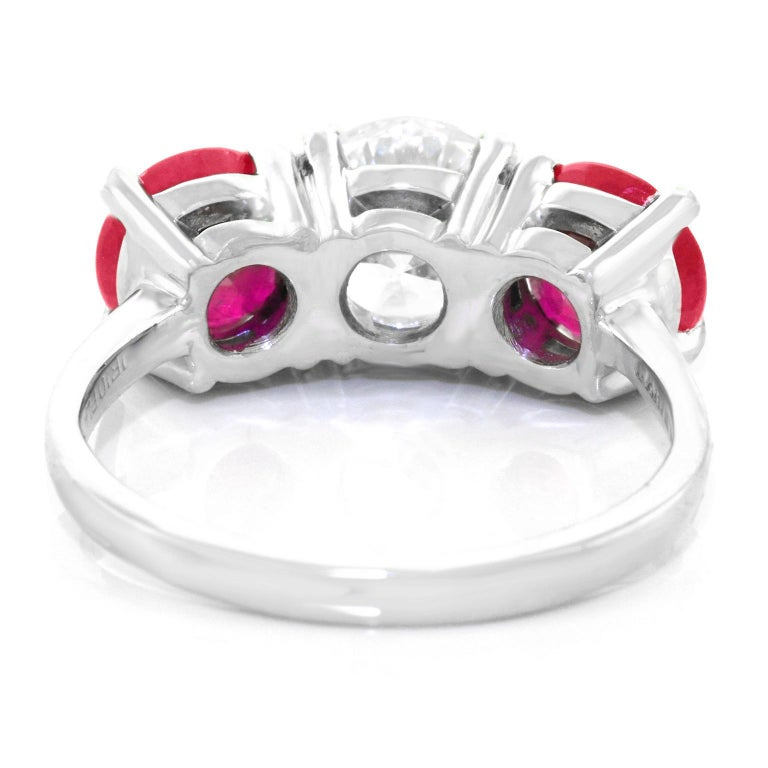 Cartier Diamond and Ruby Set Platinum Engagement Ring GIA For Sale 4