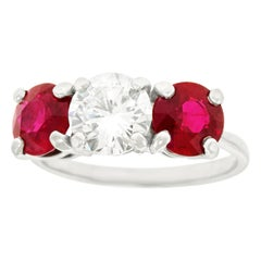 Cartier Diamond and Ruby Set Platinum Engagement Ring GIA