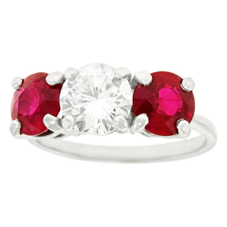 Cartier Diamond and Ruby Set Platinum Engagement Ring GIA For Sale
