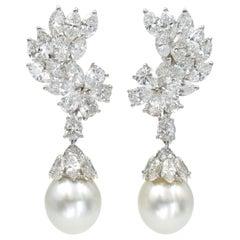 Cartier Diamond and South Sea Pearl Pendant-Earclip Earrings