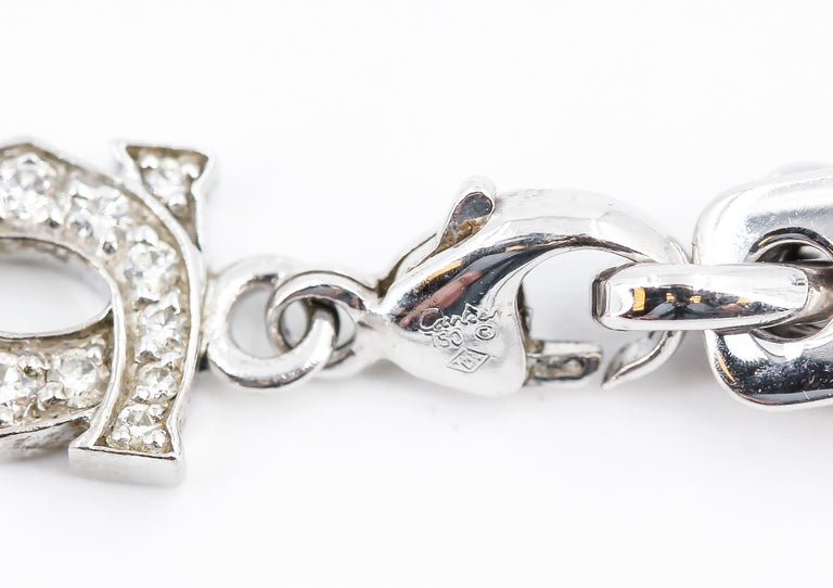 CARTIER Diamond and White Gold Charm Bracelet For Sale 4