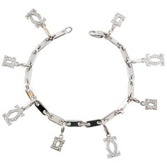 Cartier Diamond and White Gold Charm Bracelet
