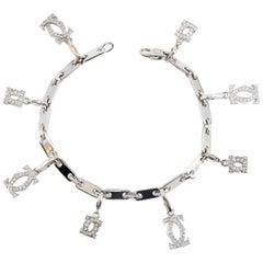 Cartier Diamond and White Gold Charm Bracelet