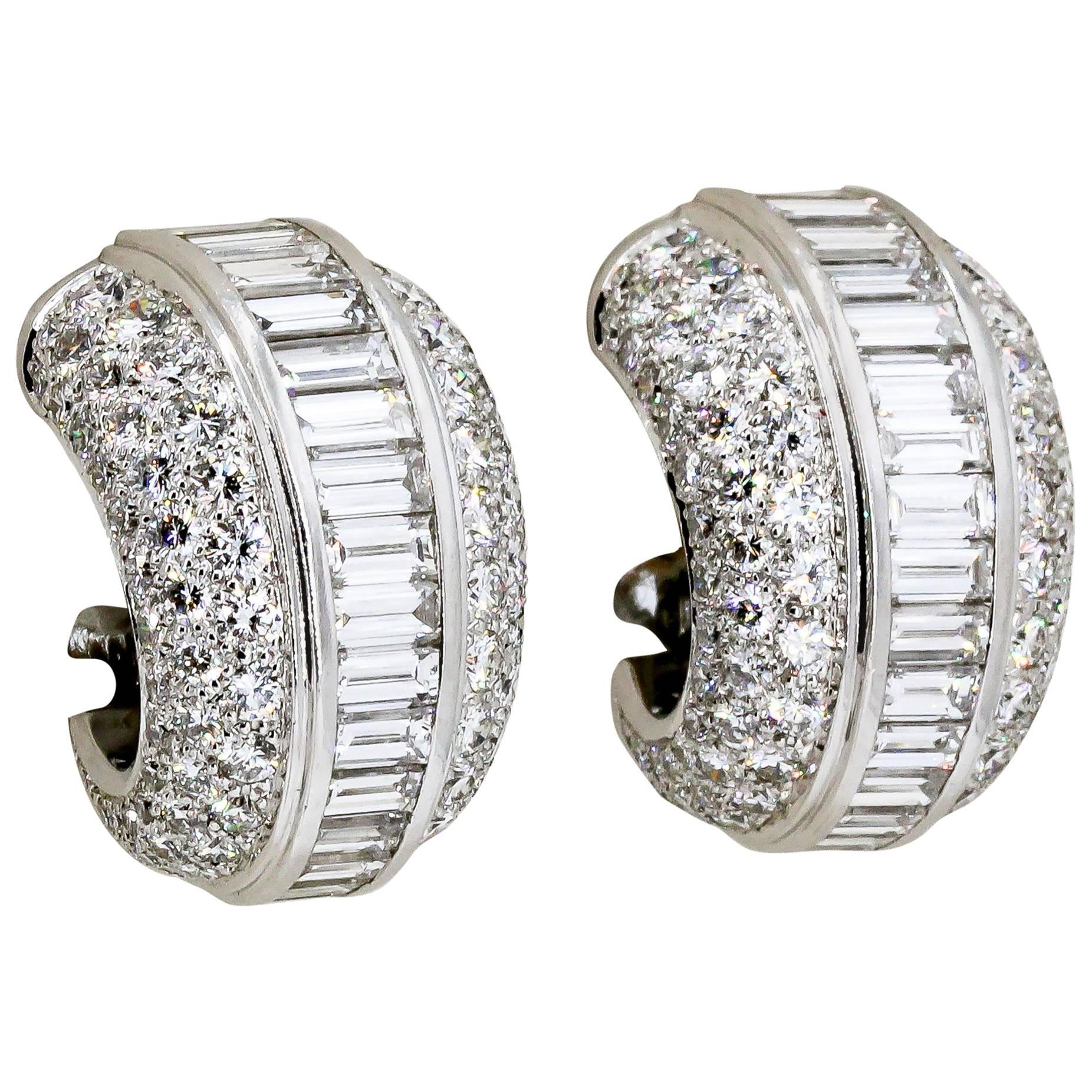 Cartier Diamond and White Gold Hoop Earrings