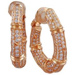 Cartier Diamond Bamboo Ear Clips