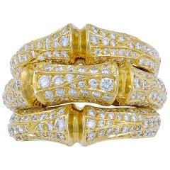 Cartier Diamond Yellow Gold Bamboo Ring