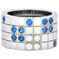 Cartier Diamond Blue Sapphire 18 Karat White Gold Lanieres Band Ring