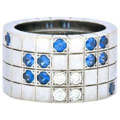 Cartier Diamond Blue Sapphire 18 Karat White Gold Lanieres Band Ring