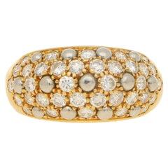 Cartier Diamond Bombe Cocktail Dress Ring Set in 18 Karat Yellow and Platinum