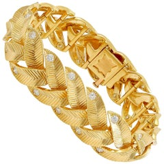 Cartier Diamond Yellow Gold Braided Motif Bracelet