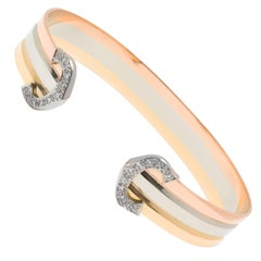 Cartier Diamond C Cuff Bracelet in 18K Yellow, White and Rose Gold '0.25 Carat'