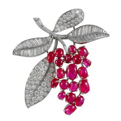 Cartier Diamond Cabochon Ruby Platinum Grapevine Motif Brooch