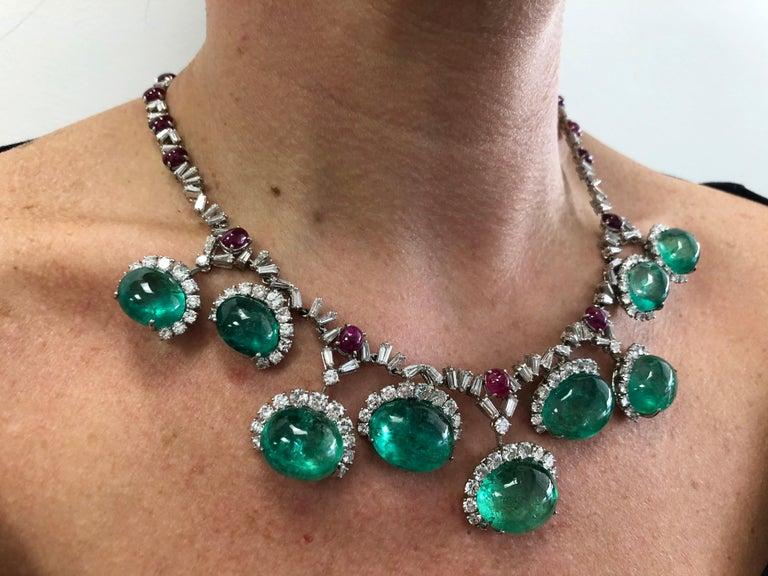 Mixed Cut Cartier Diamond, Cabochon Ruby, Emerald Necklace Suite For Sale
