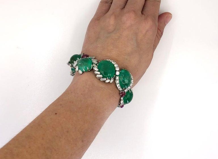 Women's Cartier Diamond, Cabochon Ruby, Emerald Necklace Suite For Sale