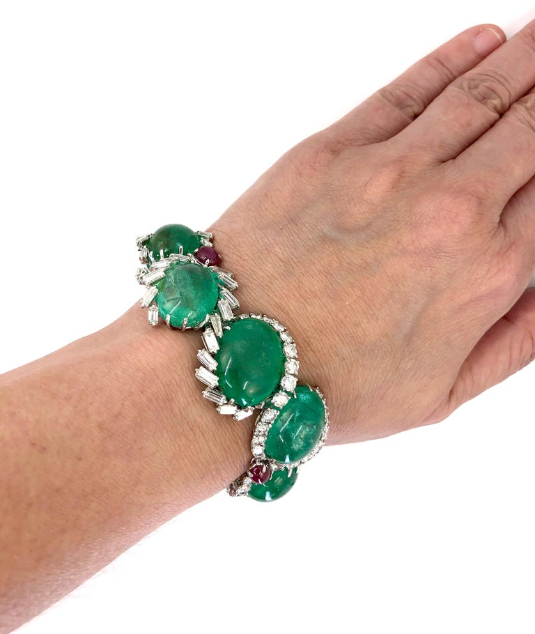 Cartier Diamond, Cabochon Ruby, Emerald Necklace Suite For Sale 1