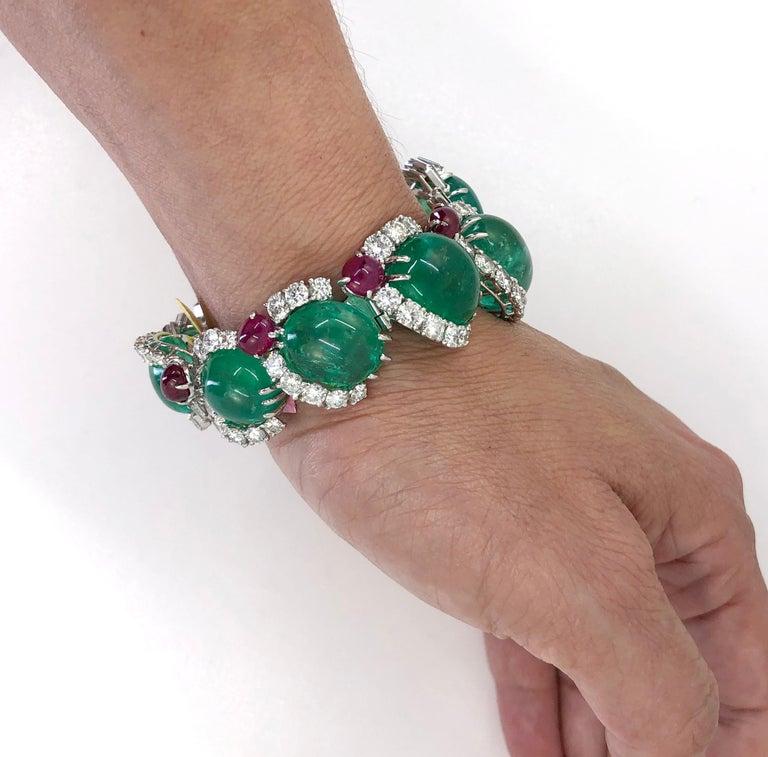 Cartier Diamond, Cabochon Ruby, Emerald Necklace Suite For Sale 2