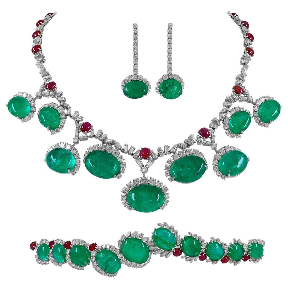 Cartier Diamond Cabochon Ruby Emerald Platinum Necklace Suite