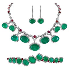 Cartier Diamond, Cabochon Ruby, Emerald Necklace Suite