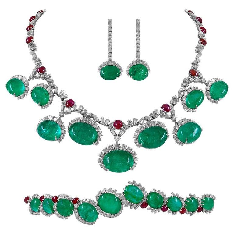 Cartier Diamond, Cabochon Ruby, Emerald Necklace Suite For Sale