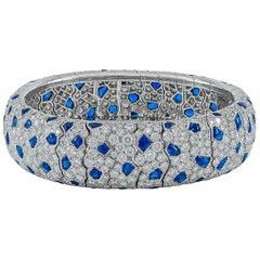 Cartier Diamond, Cabochon Sapphire Panther Motif Bracelet