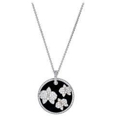 Cartier Diamond Caresse D'orchidées White Gold Onyx Round Pendant Necklace