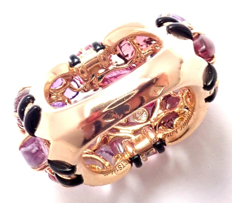 Cartier Diamond Carved Rubelite Amethyst Garnet Onyx Rose Gold Ring For Sale 6