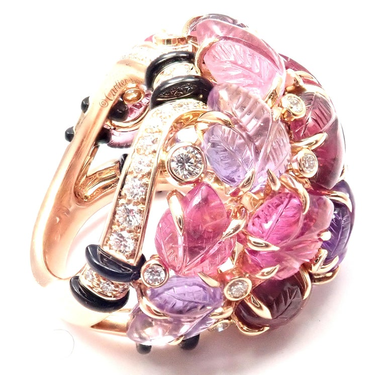 Brilliant Cut Cartier Diamond Carved Rubelite Amethyst Garnet Onyx Rose Gold Ring For Sale