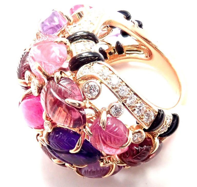Cartier Diamond Carved Rubelite Amethyst Garnet Onyx Rose Gold Ring In Excellent Condition For Sale In Holland, PA