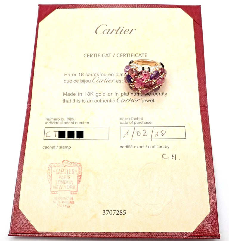 Cartier Diamond Carved Rubelite Amethyst Garnet Onyx Rose Gold Ring For Sale 1