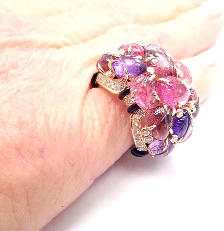 Cartier Diamond Carved Rubelite Amethyst Garnet Onyx Rose Gold Ring For Sale 3