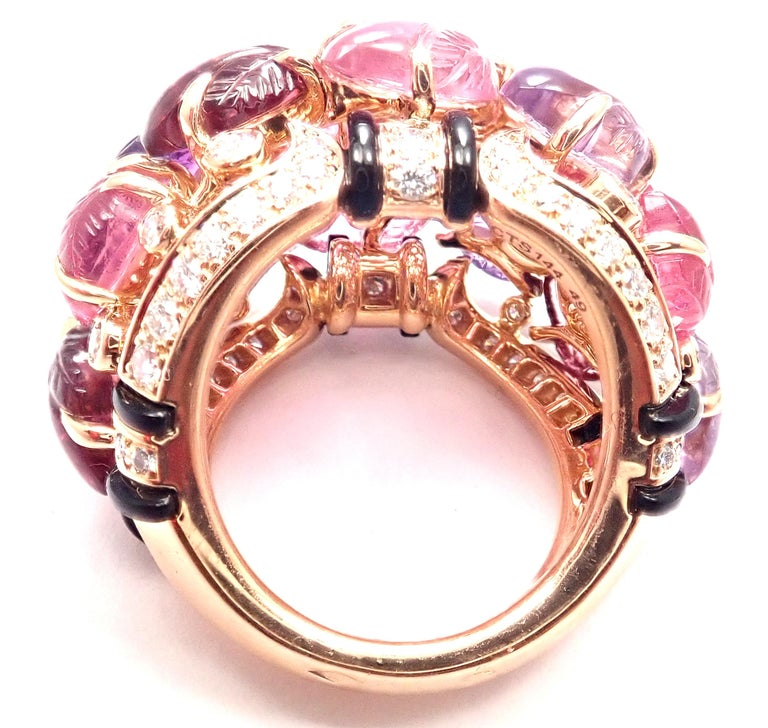 Cartier Diamond Carved Rubelite Amethyst Garnet Onyx Rose Gold Ring For Sale 4