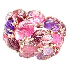 Cartier Diamond Carved Rubelite Amethyst Garnet Onyx Rose Gold Ring