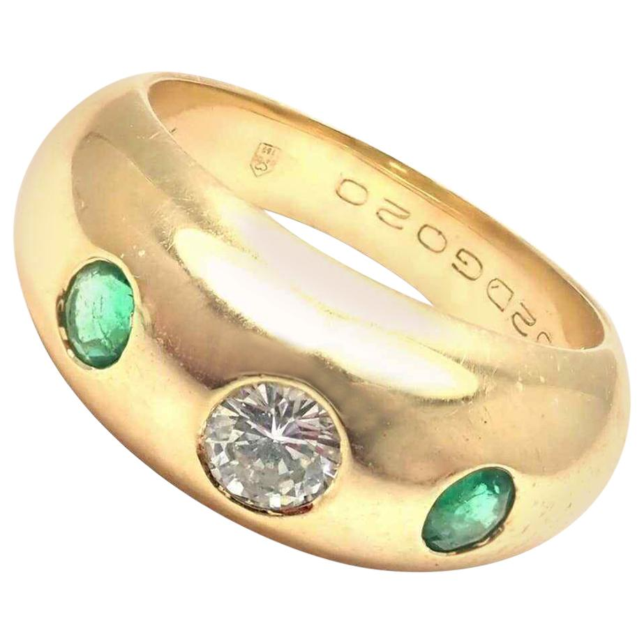 Cartier Diamond Center Emerald Yellow Gold Band Ring