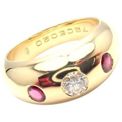Cartier Diamond Center Ruby Yellow Gold Band Ring