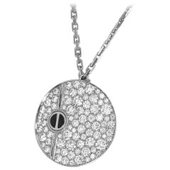 Cartier Diamond Ceramic 18 Karat White Gold Love Round Pendant Necklace