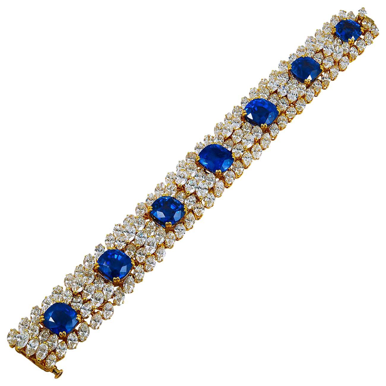 Cartier Diamond Ceylon Sapphire Yellow Gold Bracelet