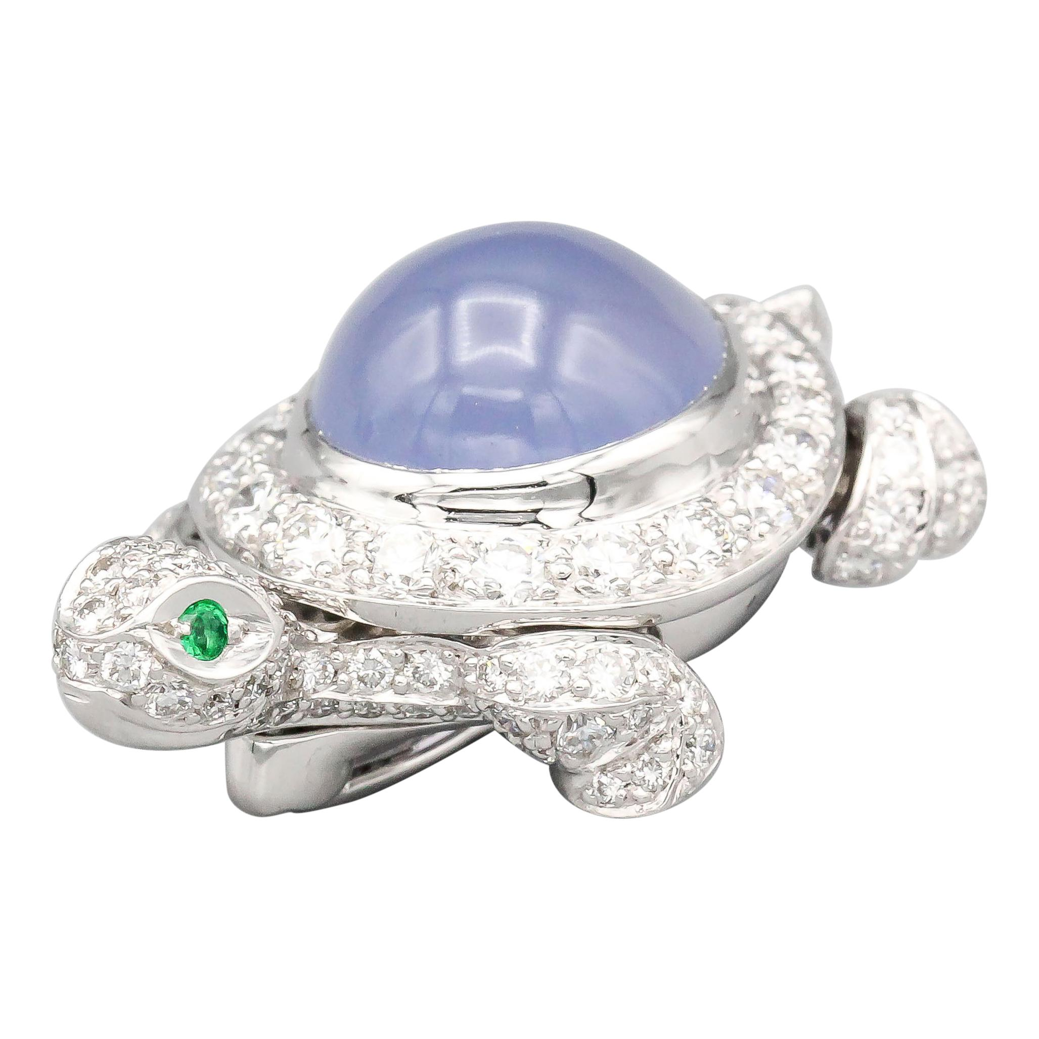 Cartier Diamond Chalcedony and 18 Karat White Gold Turtle Brooch